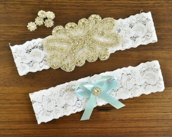 Rhinestone Wedding Garter Set, Bridal Garter Set, White Lace Garter, Keepsake Garter, Toss Garter, Crystal Embellishment, Something Blue