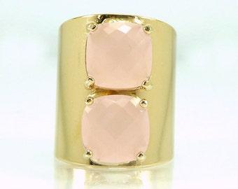 Modern Ring, Statement Ring, Gold Ring, Crystal Ring, For Her,Light Pink Ring, Geometric Ring, Bridesmaids Gift, Stone ring, Pink Gold Ring.