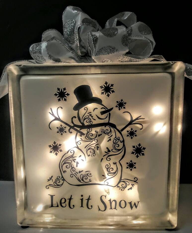 lighted glass block snowman On glass block for crafts