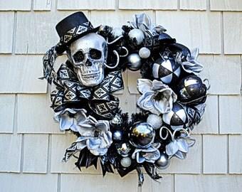 Halloween Mardi Gras Skeleton Wreath, Skeleton Crew, Halloween Wreath, Ready to Ship, Skeleton Wreath, Black Silver Ornaments,