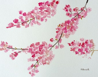 Cherry blossom watercolour painting, Japanese flowers, pink flowers, floral painting 12 x 9 inches, one of a kind