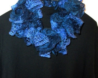 Sashay Scarf, Crocheted Scarf, Ruffled Scarf, Infinity Scarf, Knitted Scarf, Lace Scarf, Scarves, Blue