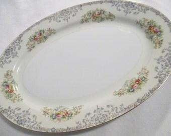 Vintage National China Oval Serving Platter, 11 inch