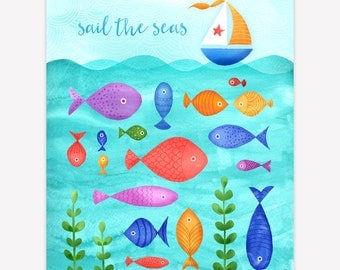 Vibrant Fish Nursery Print - Instant Download Kid's Printable Wall Art, Personalized Art Print, Sail the Seas Nursery Art, Sailboat