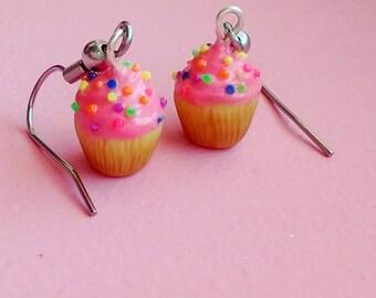 Pink Cupcake Earrings w/ Rainbow Sprinkles - Handmade Polymer Clay Mini Food Dessert Candy Jewelry