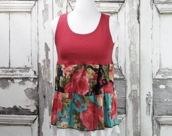 Floral Upcycled Tshirt Dress, Upcycled Clothing, Eco Fashion, Boho Chic, Junk Gypsy, Sleeveless Dress