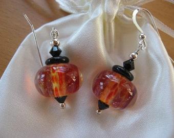 Overstock Sale, Lampwork Earrings, Boro Lampwork Beads, Handmade Lampwork, Borosilicate Beads, Fire Red Beads, Handmade Glass Earrings, SALE