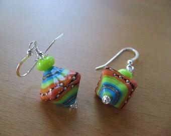 Lampwork Earrings, Bright Earrings, Colorful Earrings, Handmade Lampwork Beads, Bicone Shaped Beads, Coral Orange, Turquoise, Green
