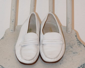 White Leather 'Nordstrom' Loafers / Slip On Shoes - Men's 8 W to 8 1/2 W