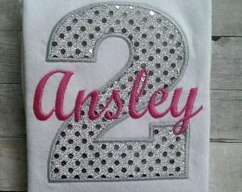 Personalized Silver Sparkly Girls Second Birthday Shirt / Girls Birthday Shirt