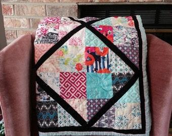 Floral Lattice Quilt, Baby Blanket, Crib Quilt, Toddler Blanket, Snuggle Quilt, Security Blanket, Throw Blanket, Travel Blanket