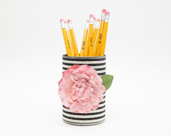 Magnetic Pen // Pencil Holder- Black and White Stripes with Pink Flower