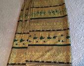 Deep Green and Gold Wrap Sarong Tie Waist Maxi Skirt Abstract Floral Camel Horseback Desert Beach Pattern Balinese Indian Egyptian Dressy