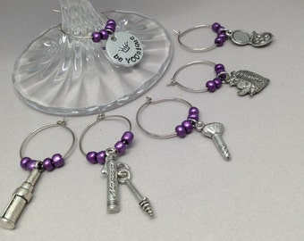 Cosmetics wine glass charms, party favors, hostess gifts, cosmetics charms