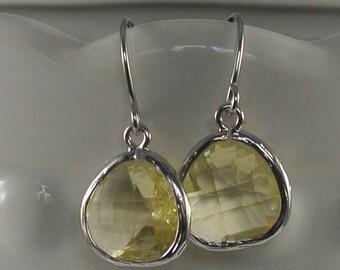 Jonquil Lemon Yellow Dangle Earrings With White Gold.