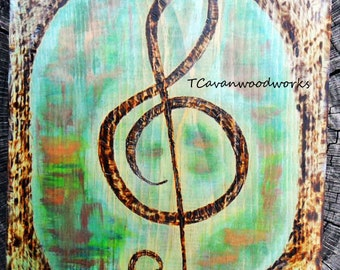 music note wall art, treble clef painting, wood burning, copper patina colors, musical gifts, treble clef wall art, music gifts, pyrography