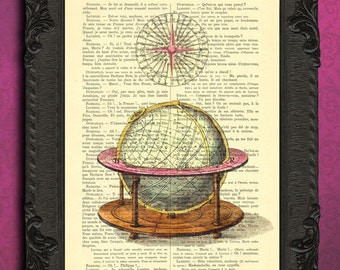 Antique globe print travel globe print globe art