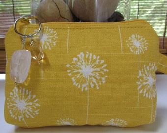 Small Yellow/White Dandelion Zippered Coin Purse, Clutch, Wristlet, Pouch
