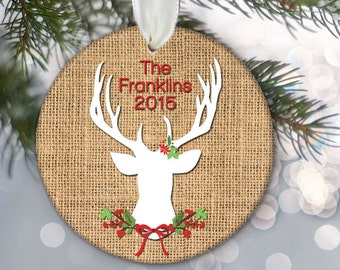 Personalized Family Name Ornament, Deer Silhouette Ornament, Christmas Ornament Antlers & Burlap Ornament Family Gift Family Ornament OR755