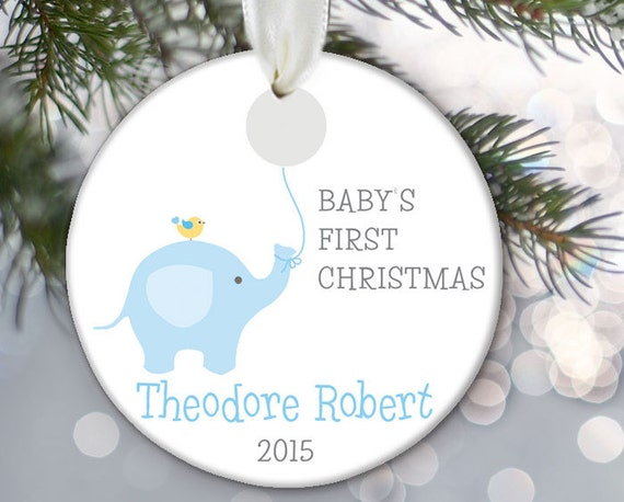 Baby Elephant Ornament Baby's First Christmas Ornament