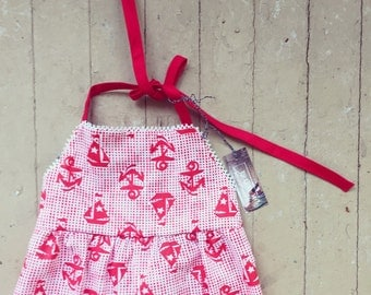 Sale!!! Anchor Sailboat Romper/Baby Romper/Vintage/red romper/Nautical/July 4th