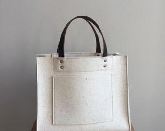Merino Wool Felt Handbag - Cream