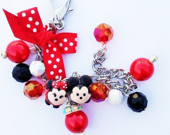 Tsum Tsum Mickey and Minnie mouse inspired charm bracelet