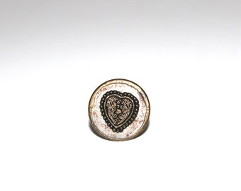 Vintage Intricate metal Heart Shaped Textile Stamp, Block Print, Pottery Stamp, Jewelry Stamp, leather stamp