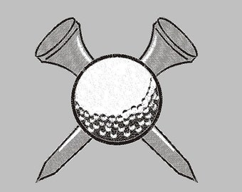 golf ball and tees embroidery design