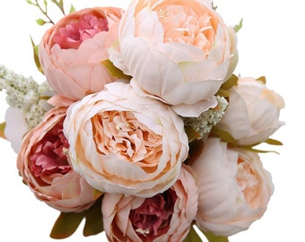 Wedding flowers etsy decorative artificial flower blush silk peony flowers bouquet flower peonies bouquet for home wedding flowers arrangement junglespirit Image collections
