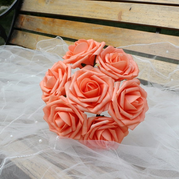 Coral wedding centerpieces flowers artificial foam roses
