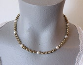 Vintage Winard Gold Filled Choker with Pearl Accents (retro 50s 60s simple plain small business chain thin bridal wedding pretty dainty)
