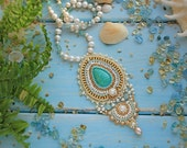 Turquoise necklace. Tenderness with turquoise and aquamarine. Necklace Bead Embroidery Art