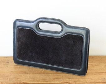 Anne Klein for Calderon Leather Suede Clutch / Navy Blue Slim Briefcase Style Handbag / Vintage Leather Purse