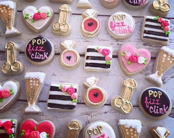 Mini Gold and Pink bachelorette cookies