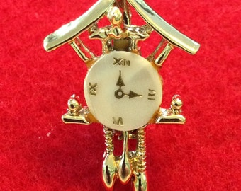 Vintage Cukoo Clock Brooch Mother of Pearl Gold Tone