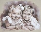 Monochrome double pastel portrait, Children Pastel Portrait