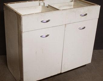 "38""x20""x34""H Vintage Metal Kitchen Cabinet  w/2 Drawers & Doors"