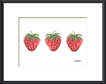 Strawberry art print, strawberry decor, fruit art, strawberry pictures, small art prints, 5x7 art, PRINT ONLY