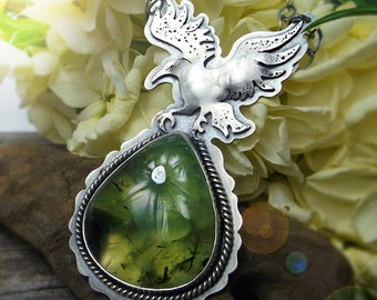 The Crow Necklace -silversmithed Necklace with Prehnite