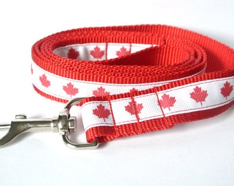 "Canada Day Dog Leash - 1"" Canadian Maple Leaf Lead"