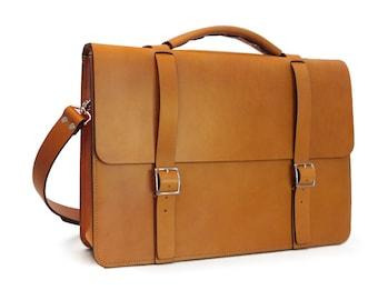 NEW - Messenger Bag / Briefcase - English Tan Full Grain Leather