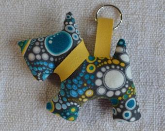 keychain, bag charm, scottie dog , Riley Blake bubble fabric