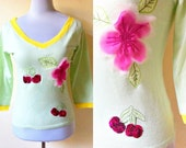 Spring Sale: pastel green with cherries and cherry blossoms applique pullover top (small to medium)