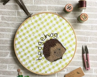 Freehand Machine Embroidery Design, Wall Hanging, Hedgehog Design, 10 inch Hoop, Embroidery Hoop, Wall Art, Hedgehog Gifts, Fathers Day