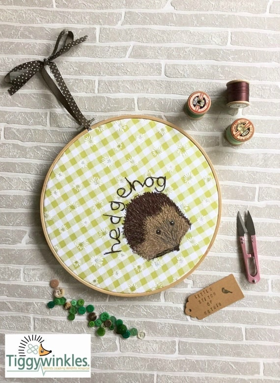 Freehand Machine Embroidery Design Wall Hanging Hedgehog