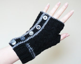 Hand Warmers/ Fingerless Gloves, Black and Grey Crochet XL