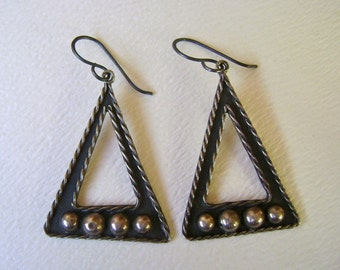 vintage mexican sterling triangle earrings