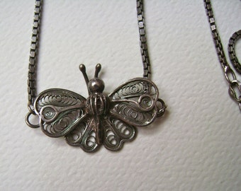 spun silver butterfly necklace, sterling