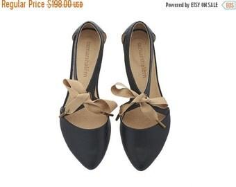 SUMMER FINAL SALE Chelsy Black leather sandalas/ handmade leather  flats by Tamar Shalem